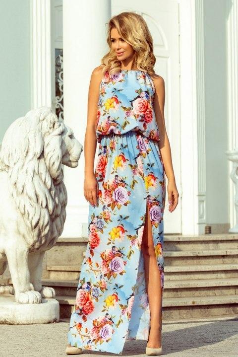 191 5 Sukienka MAXI wiązana na szyi z rozcięciem KWIATY na błękitnym tle